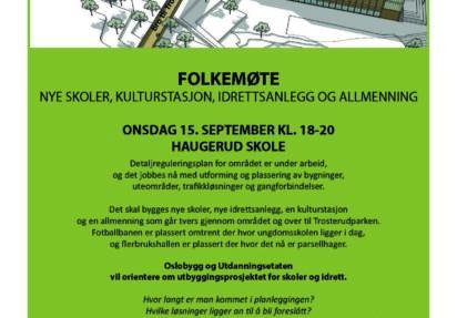 Folkemøte om nye skoler og idrettsanlegg 15. september